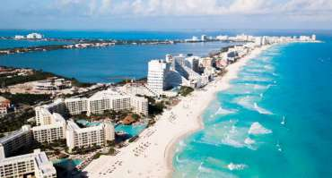 Aerial view of Cancun Hotel Zone